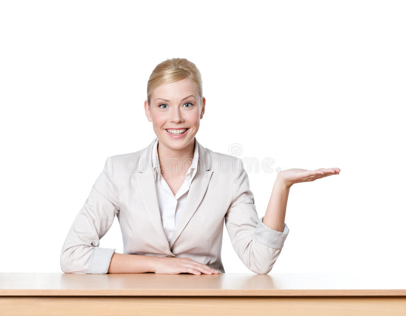 Download Young Business Woman Sitting At A Office Table Stock Photo - Image: 25071006