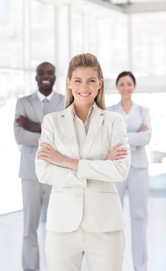 Download Young Business Woman Smiling At Camera Stock Image - Image: 9098387