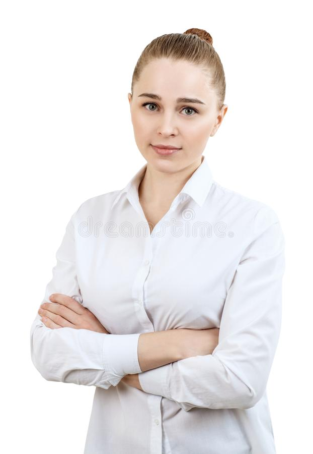 Young business woman smiling with crossed hands. royalty free stock photography
