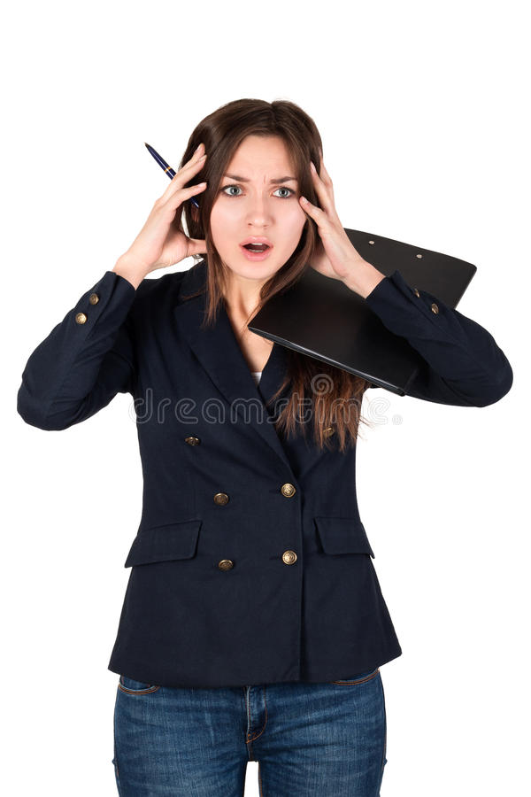 Young business woman stressed at work stock images