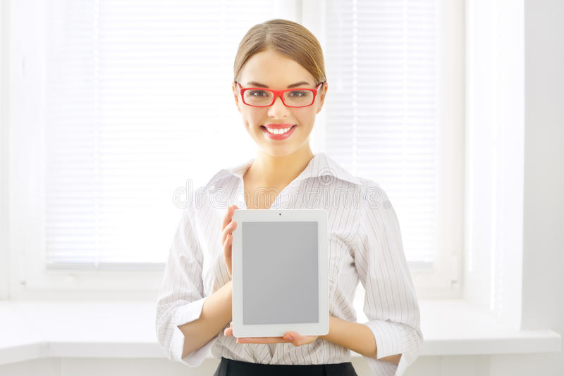 Young Business Woman With Tablet Pc Royalty Free Stock Photography