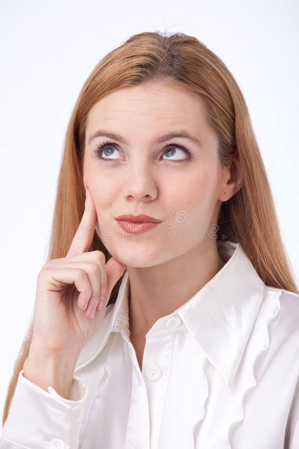 Young business woman thinking royalty free stock photos