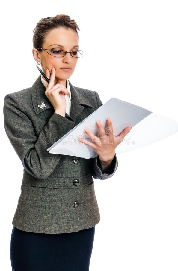 Young Business woman thinking. Businesswoman working, thinking on a decision, white background stock image