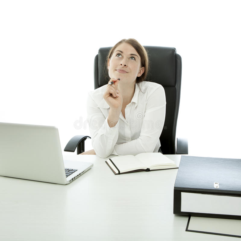 Download Young Business Woman Thinking About Idea Stock Image - Image of executive, corporate: 26011359