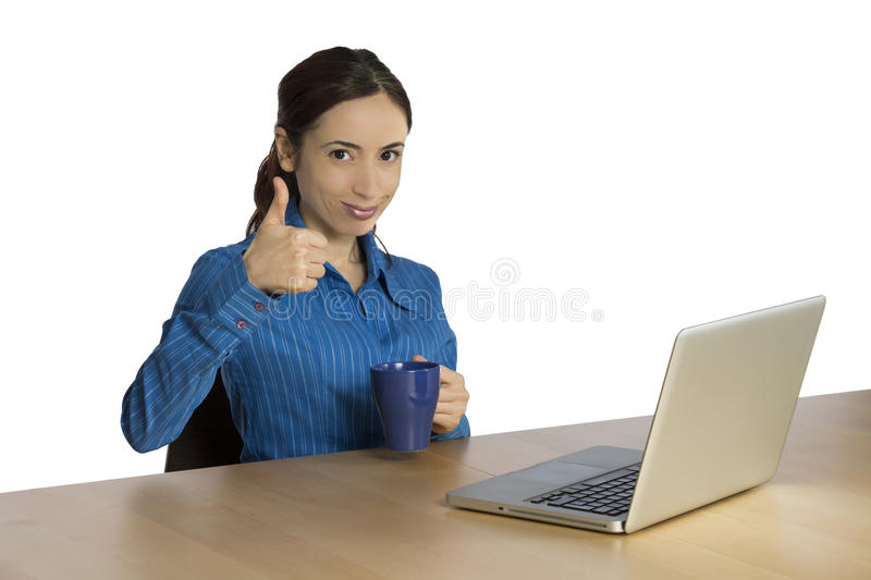 Young business woman with thumb up stock photos