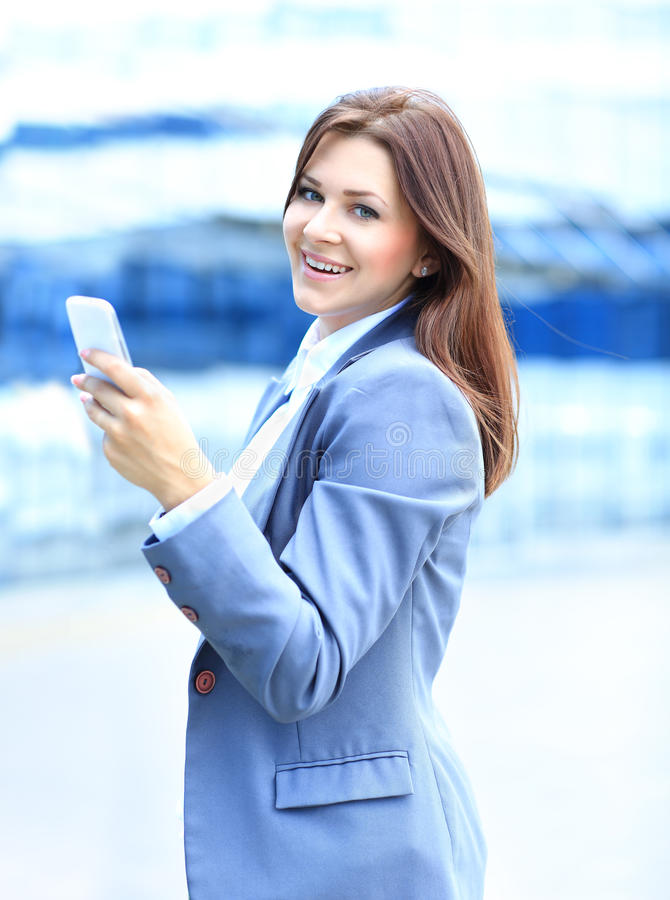 Download Young Business Woman Using Mobile Phone Stock Image - Image of cell, freckles: 33488269