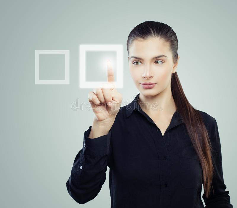 Young business woman voting, portrait royalty free stock images