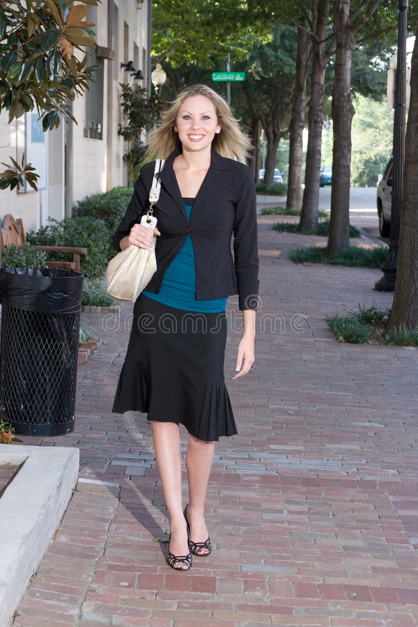 Young Business Woman Walking stock photos