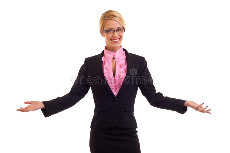 Young business woman welcome stock photo