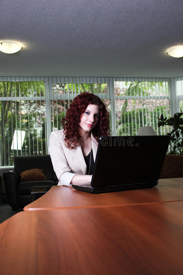Download Young Business Woman At Work With Laptop Computer Stock Photo - Image: 24636542