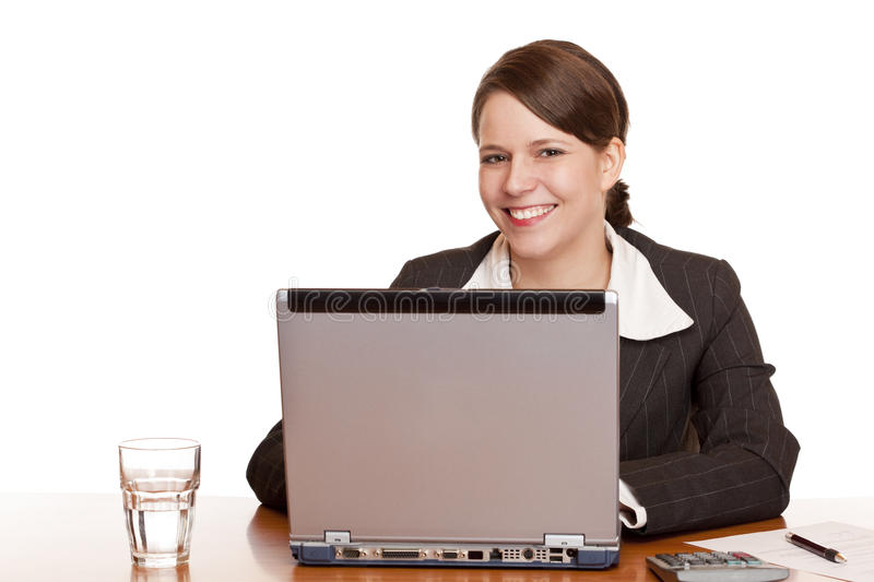 Young business woman working happy in office stock images
