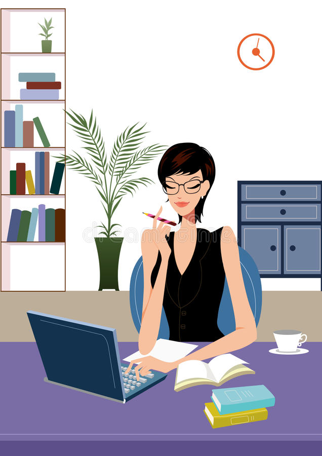 Young business woman working on laptop computer. Happy young business woman working in office sitting to her desk with a pen in hand facing laptop or computer vector illustration