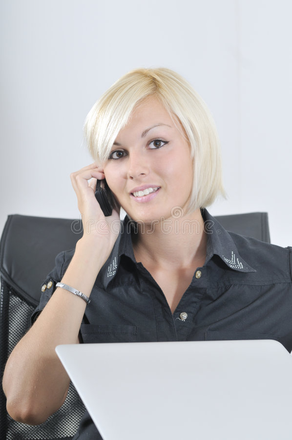 Download Young Business Woman Working In Office On Laptop Stock Photo - Image: 6758340