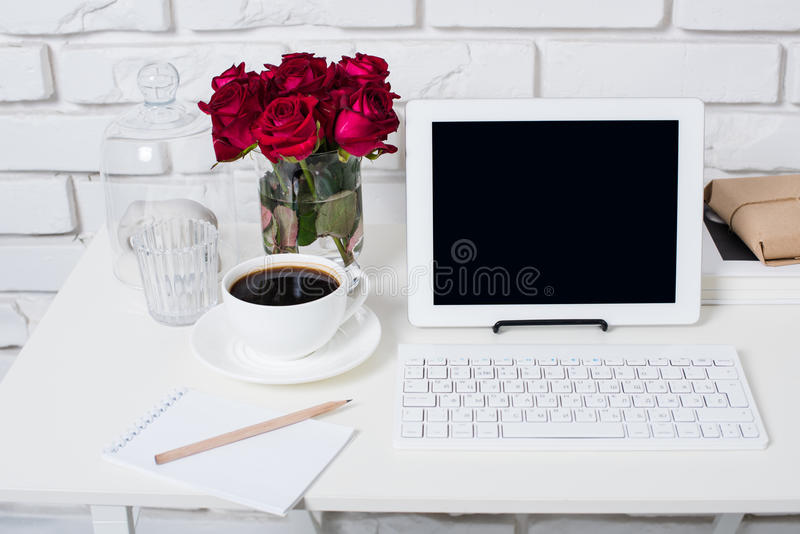 Young business woman workspace royalty free stock image