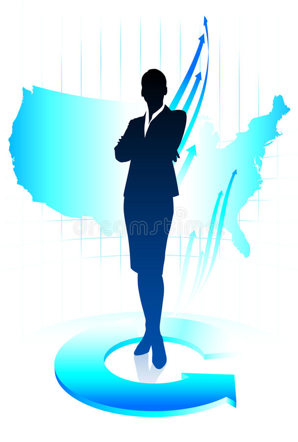 Young business woman on world map background royalty free illustration