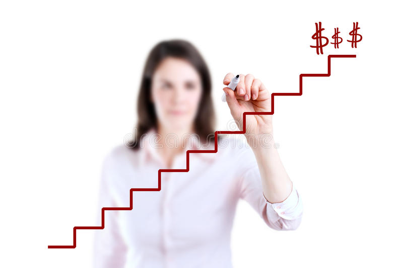 Young business woman write stair. Young business woman write stair, white background stock images