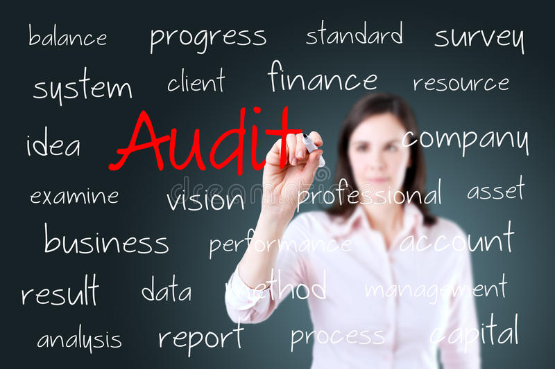 Young business woman writing audit concept.  stock photos