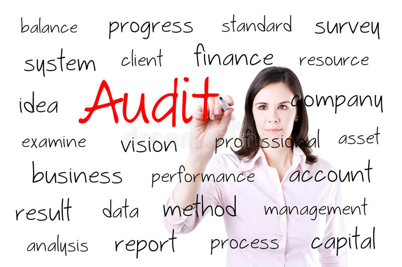 Young business woman writing audit concept. Isolated on white. royalty free stock photos