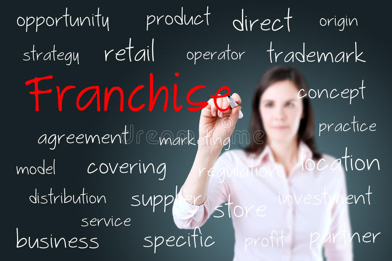 Young business woman writing franchise concept royalty free stock photography