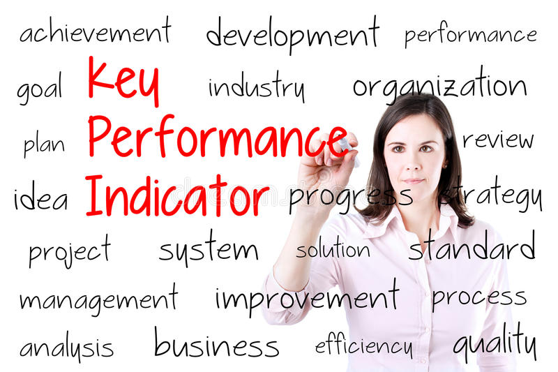 Young business woman writing key performance indicator (kpi) concept. Isolated on white. royalty free stock image