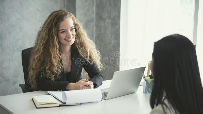 Young business woman applicant and human resources royalty free stock image