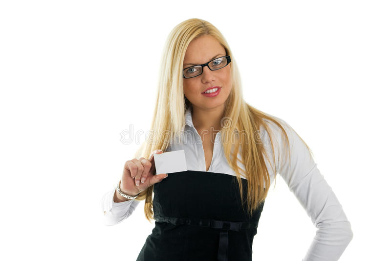 Young business women showing business card stock image