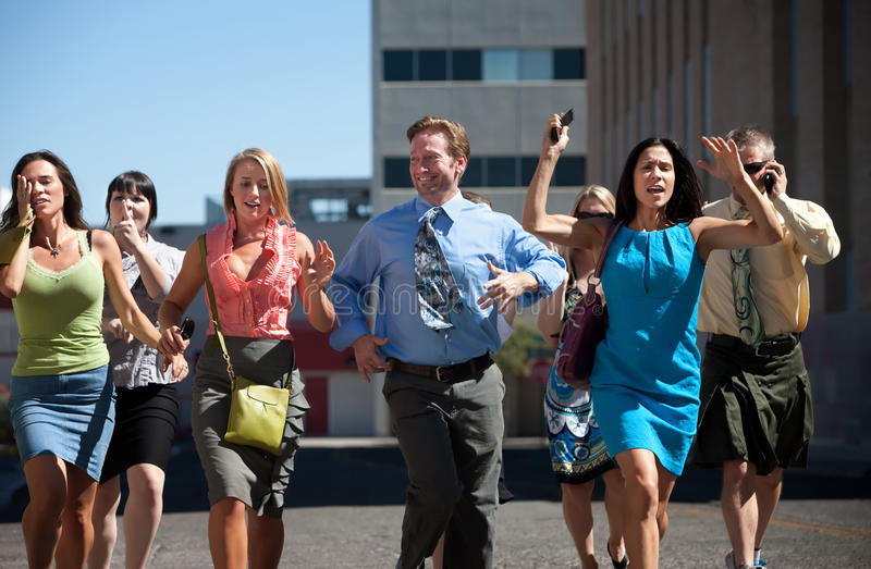 Download Young Business Workers Run Down Steet. Royalty Free Stock Photo - Image: 15694885