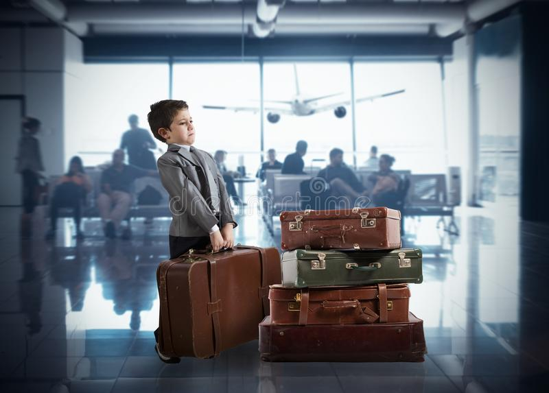 Young businessman in airport royalty free stock photo