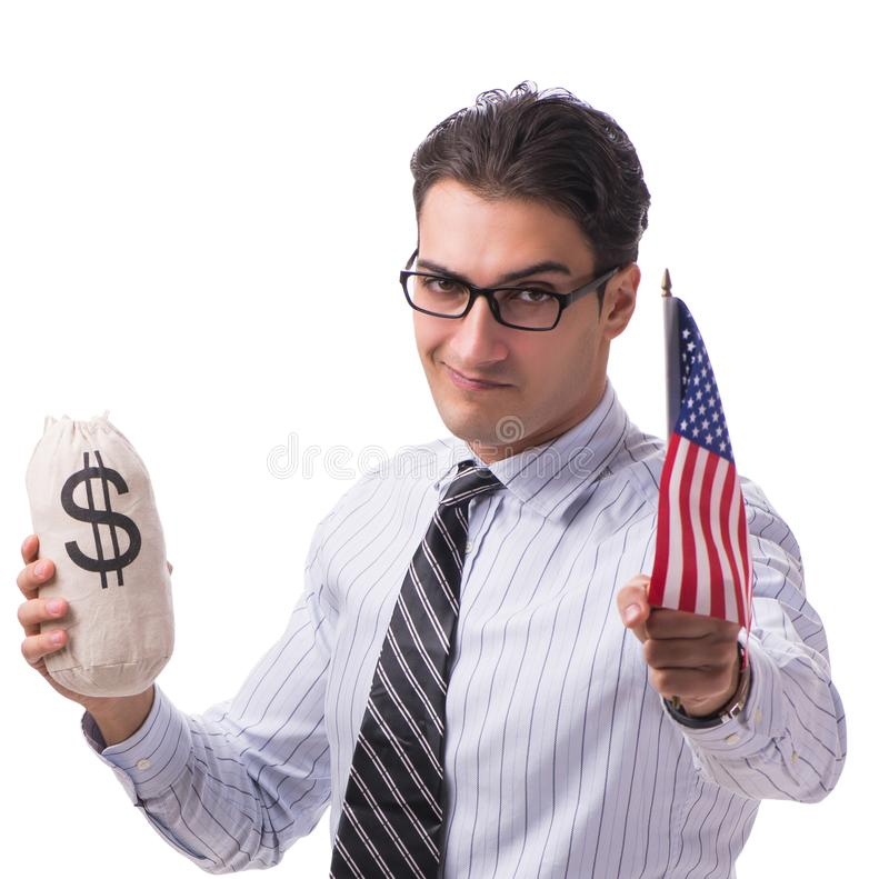 Young businessman with american flag and money sack on white. The young businessman with american flag and money sack on white stock photos