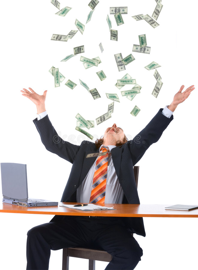Free Young Businessman And Falling Money Stock Image - 6949211