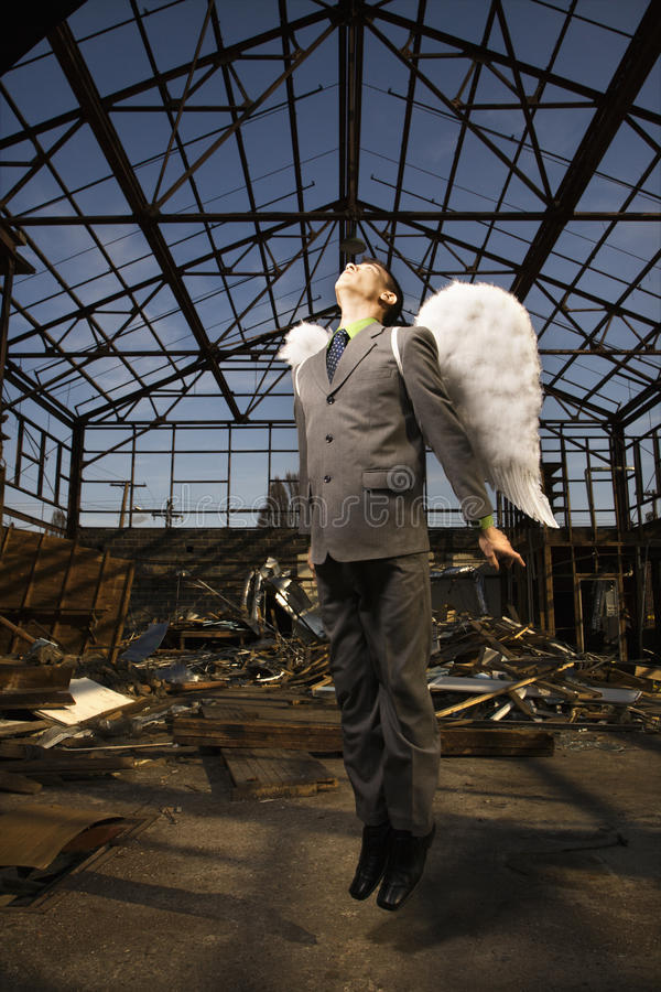 Young Businessman With Angel Wings royalty free stock photos