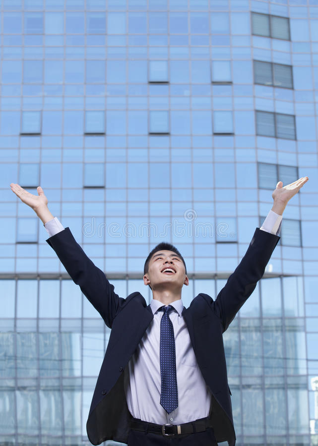 Download Young Businessman With Arms Raised Stock Photo - Image: 33368328