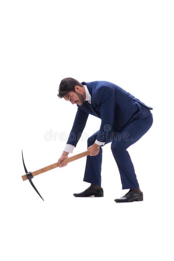 The young businessman with axe isolated on white background royalty free stock image