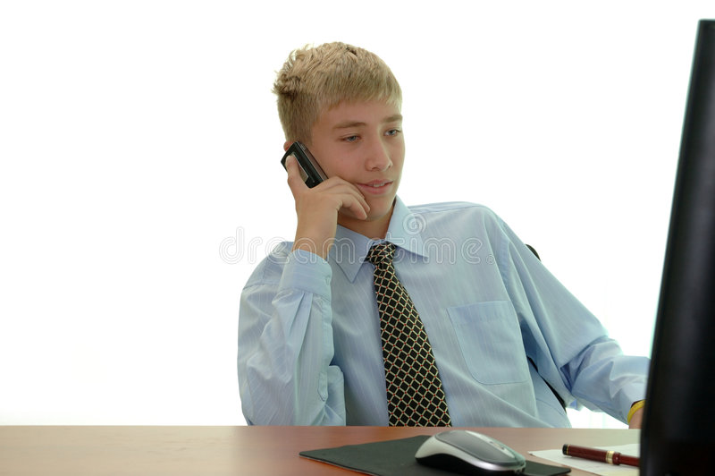Download Young Businessman Behind Work. Stock Image - Image: 3180589