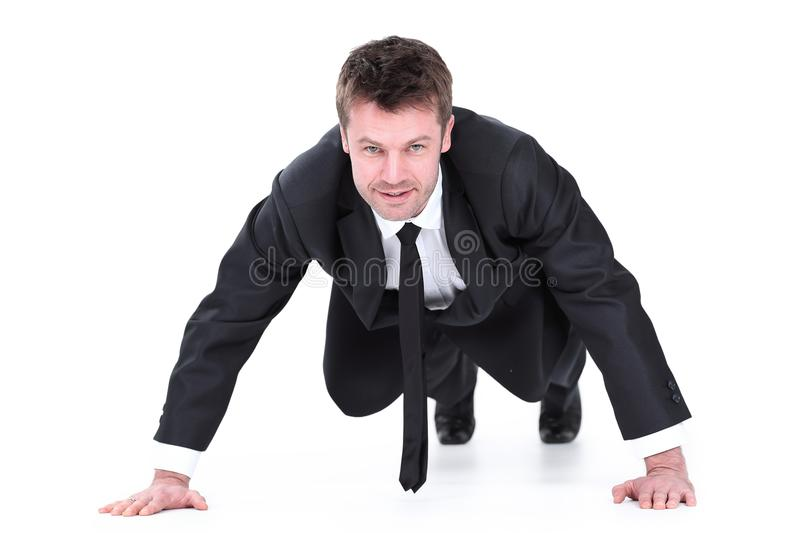 Young businessman being wrung out from a floor stock images