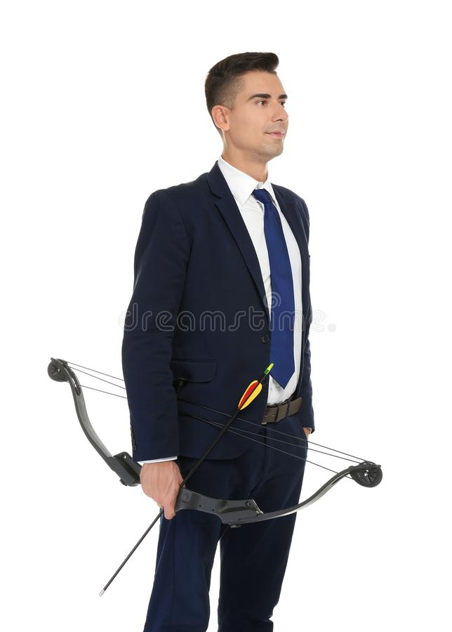 Young businessman with bow and arrow royalty free stock photos