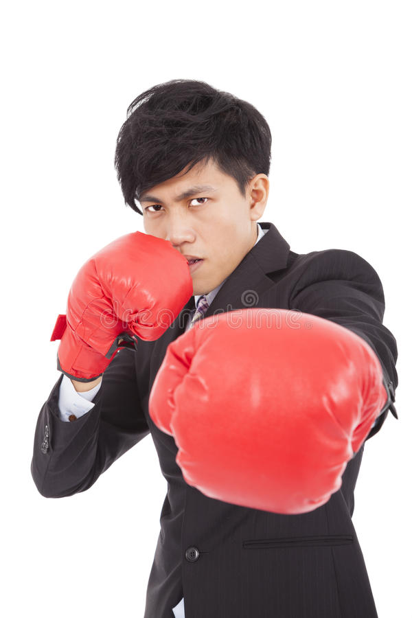 Download Young Businessman With Boxing Gloves Stock Photo - Image: 34996444