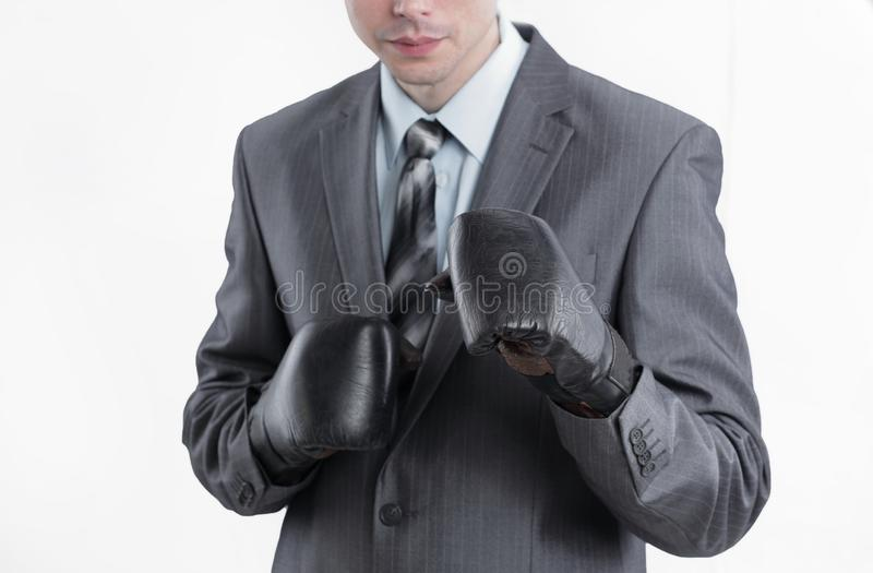 Young businessman in Boxing gloves.isolated on white royalty free stock image