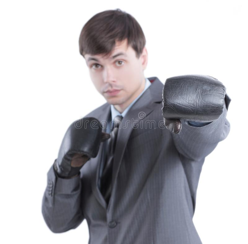Young businessman in Boxing gloves.isolated on white. Background stock photos