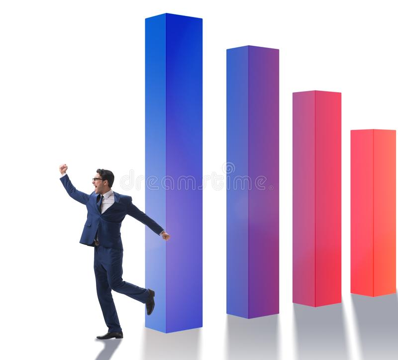Young businessman in business concept with bar charts. The young businessman in business concept with bar charts royalty free stock image