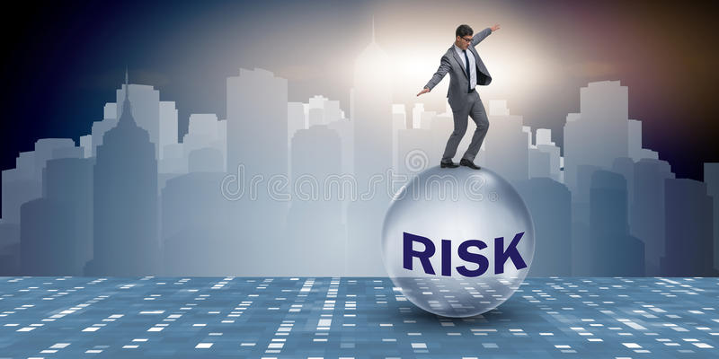 The young businessman in business risk and uncertainty concept. Young businessman in business risk and uncertainty concept royalty free stock photography
