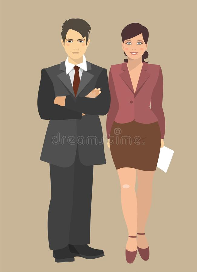 Young Businessman And Business Woman Standing Next stock illustration
