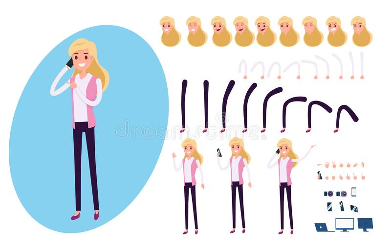 Young Businessman character creation set for animation. Set of business woman using smartphone. Parts body template. vector illustration