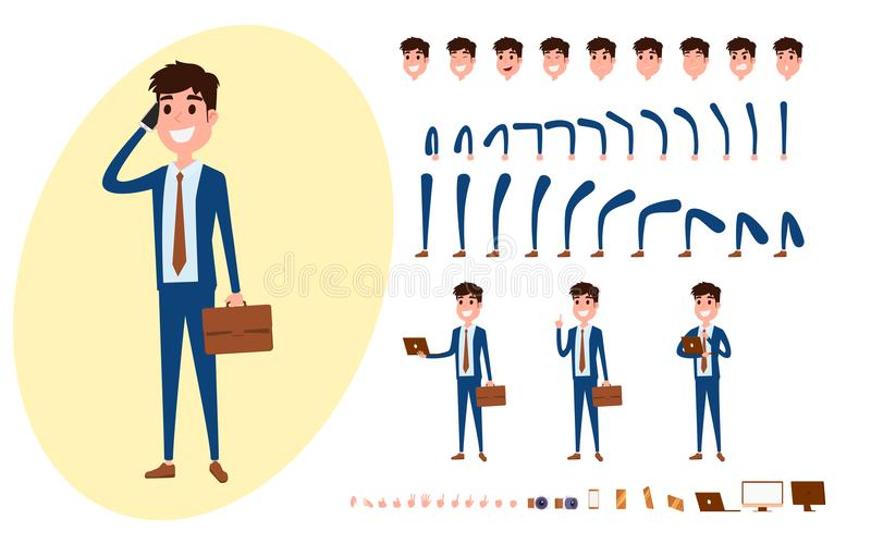 Young Businessman character creation set for animation. Set of guy acting in suit using smartphone. Parts body template. Different emotions, poses and running stock illustration