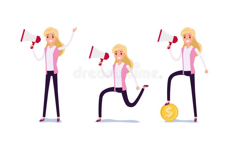 Young businessman character design. Set of business woman acting in suit working in office, Different emotions, poses and running royalty free illustration