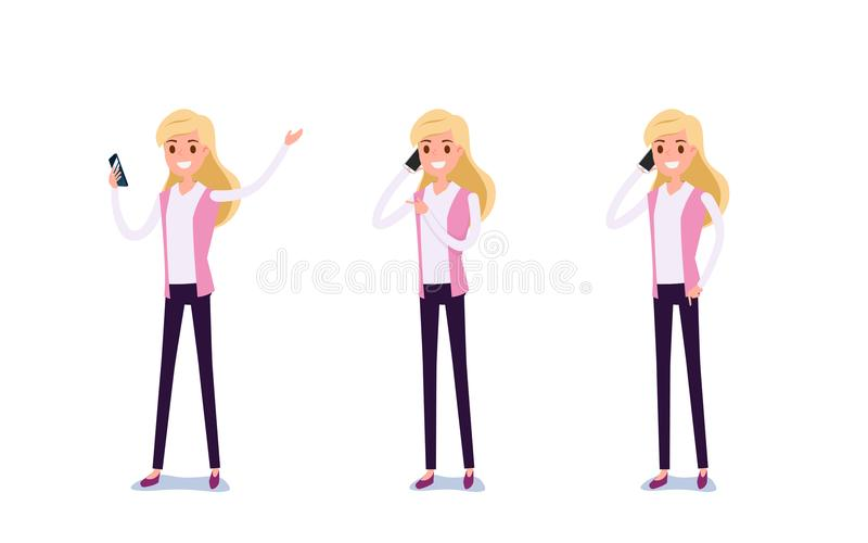 Young businessman character design. Set of business woman acting stock illustration