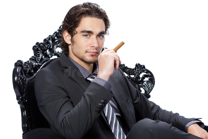 Download Young Businessman With Cigar Stock Photo - Image of details, posing: 16842244