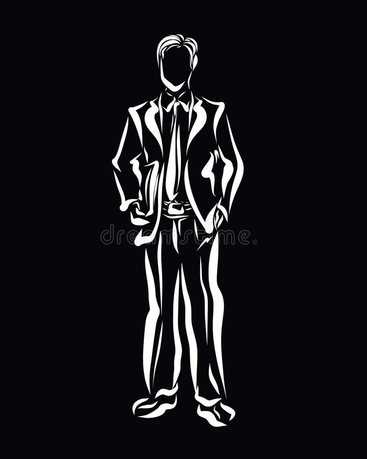 Young businessman in classic suit with documents in hands, black vector illustration