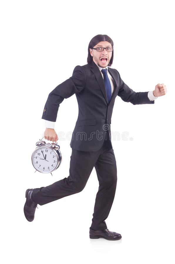 Young businessman with clock. On white royalty free stock photos