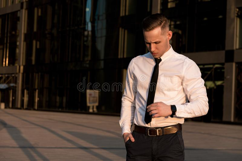 Man in a white shirt  stock photo